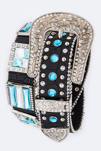 Color Rhinestones Square With Various Size Accented High End Belt