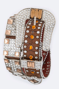 Rhinestones Suqare With Various Size Accented High End Belt