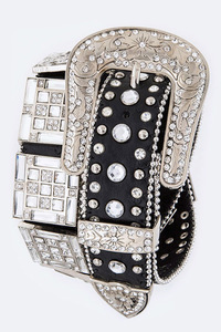 Rhinestones Square With Various Size Accented High End Belt