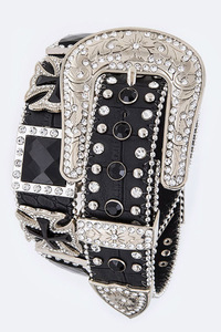 Rhinestones Square With Cross Accented High End Belt