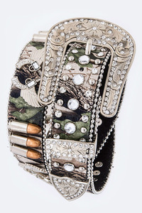 Rhinestones Gun And Bullets Accented High End Belt