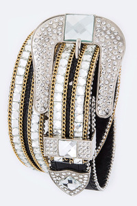 Small Square Rhinestones And Chain Accented High End Belt