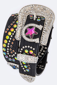 Color Rhinestones, Star, Horse Shoe Accented High End Belt