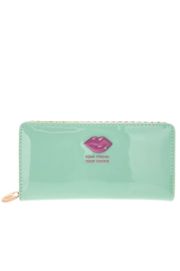Solid Lip Accented Polka Dot Print Lining Wallet