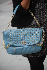 High End Classic Studded and Rhinestone Hobo Handbag