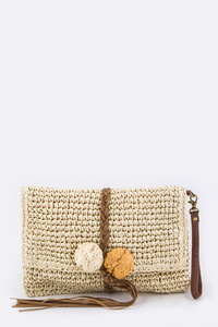 Solid Suede Braided Straw Weave Clutch With Strap