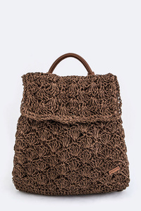 Solid Straw Weave Iconic Backpack