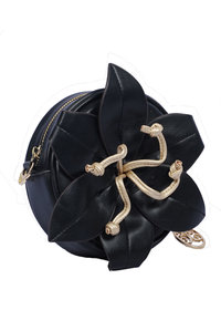 Big Flower Deco Circle Body with Shoulder Strap Clutch Bag