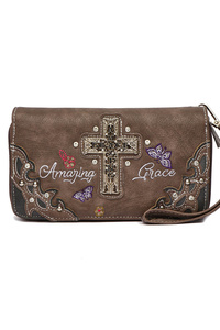 Cross And Butterfly Zip Around Wallet With Wrist Strap