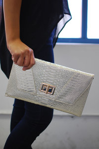 Envelope Style Crocodile Skin Evening Clutch with Chain Strap