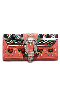 Aztec Colorful Print Studded Design Trifold Wallet