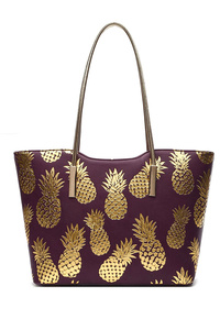 Solid With Gold Foiled Pineapple Slim Handle Tote Bag