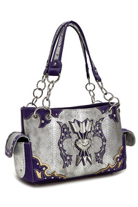 Western Cowgirl Arrows Accented Satchel Bag With Long Handles