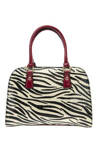 Zebra Print And Solid Trim Accented Top Handle Satchel Bag With Strap