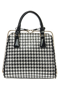 Houndstooth Print And Solid Trim Accented Top Handle Satchel Bag With Strap
