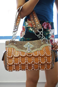 Western Style Cross Deco Studded Satchel Bag with Two Side Pocket