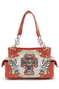Western Cowgirl Angel Wing With Cross Accented Satchel Bag