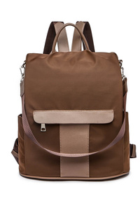 Solid Front Zipper Backpack Style Bag