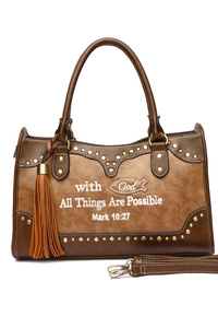 "Bible Verse "" With God All Things Are Possible"" Satchel Bag"