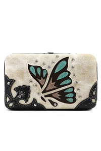 Western Cowgirl Butterfly Embroidery Design Hard Case Wallet
