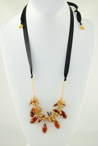Tear Drop Glass Bead with 20 inch Satin Tape Deco Necklace and Earring Set