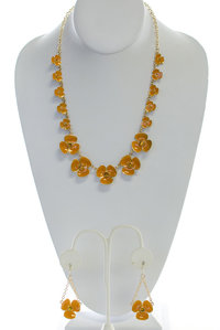 Multi Layer Flower Necklace and Earring Set