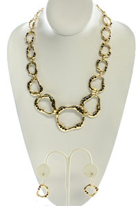 Gold Irregular Shape with Small Colored Stones Necklace and Earring Set