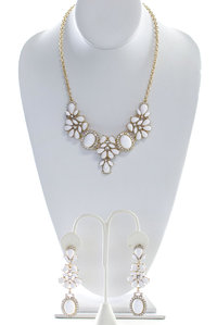 Tear Drop Multi Stones Gold Trim Necklace and Earring Set