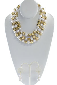 Colored and Gold Pearls  Necklace and Earring Set