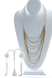 Multi Chain Layers Small Stones Long Drop Necklace and Earring Set