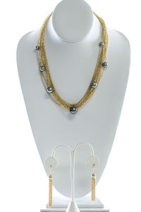 Multi Chain Layered and Pearls Deco Necklace and Earring Set