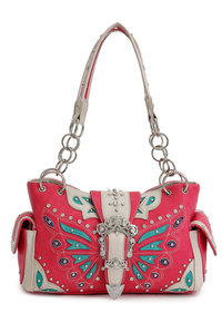BEst Seller Restock Western Butterfly Patch Embroidery Belt Buckle Deco Two Side Pocket Satchel Bag
