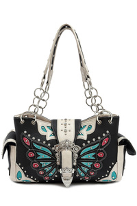 Western Butterfly Patch Embroidery Belt Buckle Deco Two Side Pocket Satchel Bag