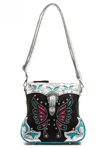 Western Cowgirl Butterfly Patch Embroidery Deco Belt Messenger Bag