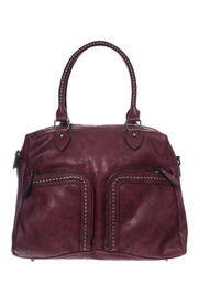 Restocked Double Zipper Front Pocket With Studs Accented Top Handle Bag