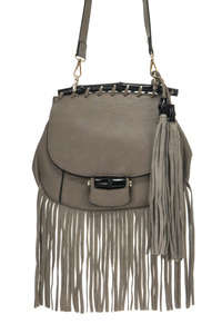 Fringe And Tassel With Wooden Accented Messenger Bag