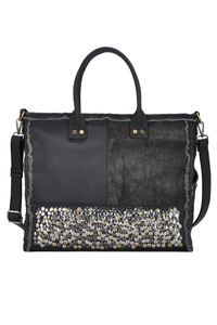Solid Quilted With Bottom Studs Tote Bag With Shoulder Strap