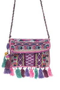 Mini Bohemian Hand Made Embroidery Deco Canvas Tassels Messenger Bag