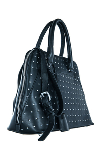 All Over Rhinestones And Lock Accented Satchel Bag With Strap