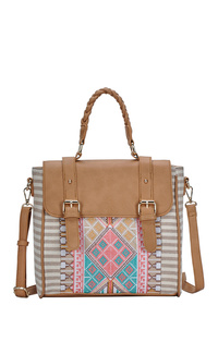 Aztec And Stripe Canvas Flap Over Convertible Bag