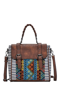 Restocked Aztec And Stripe Canvas Flap Over Convertible Bag