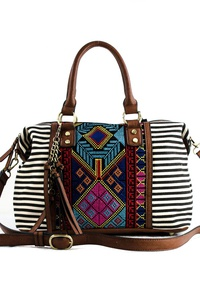 Aztec And Stripe Canvas With Tassels Satchel Bag With Strap
