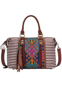 Restocked Aztec And Stripe Canvas With Tassels Satchel Bag With Strap