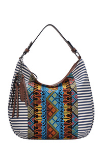 Aztec And Stripe Canvas With Tassels Hobo Bag With Single Handle