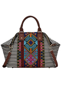 Aztec And Stripe Canvas With Tassels Tote Bag With Strap