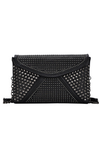 All Over Metal Studs Covered Flap Over Clutch With Strap