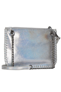 Metallic Fabric With Chain Edged Clutch With Wrist And Shoulder Strap