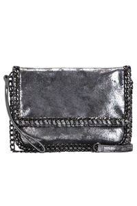 Metallic Chain Edged Flap Over Clutch With Shoulder Strap
