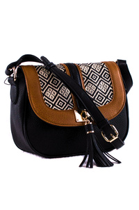 Tassels And Straw Trip Flap Over Messenger Bag With Strap