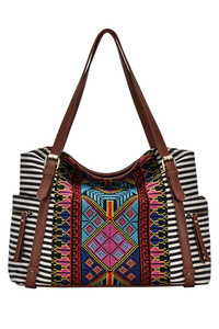 Aztec And Stripe Canvas With Tassels Hobo Bag With Strap